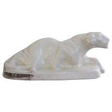 Art Deco Crackle Glaze Crouching Lioness