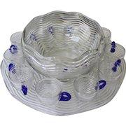 Duncan Miller 13 Piece Art Deco Punch Bowl Set