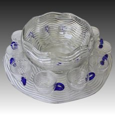 Duncan Miller 13 Piece Art Deco Punch Bowl Set
