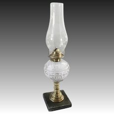 1860's Boston EAPG Flint Glass Font Whale Oil Lamp