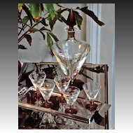 Art Deco 6-piece Cordial Set Attributed to Royal Brierley Glass Co.
