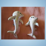Pair of Dolphins Iridescent White Vintage Enamel Scatter Pins