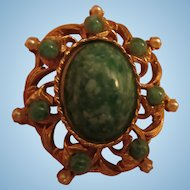 Jade Art Glass  fx Pearl Vintage Brooch Pin