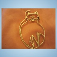 Modernist Huge Cat Vintage Brooch Pin