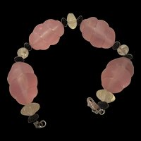 Fabulous Monet Art Deco Style Pink Frosted Bracelet