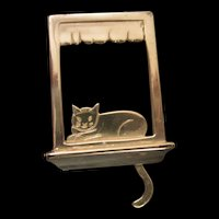 Sterling Silver Cat articulated Tail  Windowsill  Pin