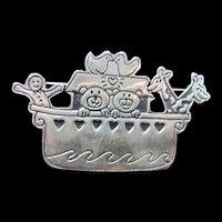 Signed Sterling Silver Noah's Ark Brooch