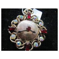 Rare Rhinestone Clock Face Figural Vintage Brooch Pin