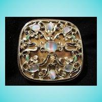 Rare Evans Givre Art Glass Enamel Vanity Compact