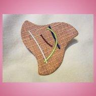 Eames Era Modernist Copper Enamel  Mid Century Modern Pin