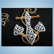 Beautiful Signed  White Enamel Anchor Vintage Pendant on Chain Necklace