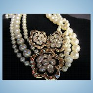 Magnificent Swarovski Signed Triple Strand fx Pearl Necklace Matching Earrings