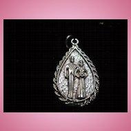 Sterling Silver Vintage Bride & Groom Vintage Pendant Charm