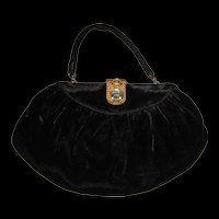 Art Deco Black Velvet Purse Bag Deco Step Rhinestone Clasp