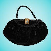 Art Deco Black Velvet Purse Bag Deco Step Rhinestone Clasp