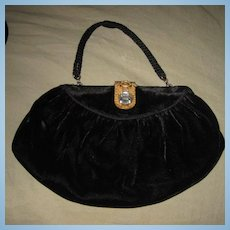 Art Deco Black Velvet Vintage Purse Bag Deco Step Rhinestone Clasp