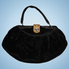 Art Deco Great Gatsby  Black Velvet Vintage Purse Bag with Fabulous Deco Step Rhinestone Closure