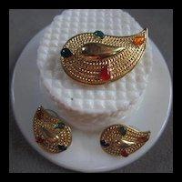 Lovely Paisley Brooch Earrings Set