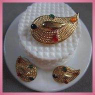 Paisley Demi Parure Pin & Earrings