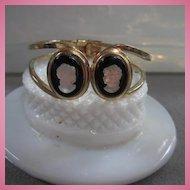 Fabulous Vintage Camphor Cameo Clamper Bracelet