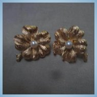 Fabulous Signed Francois  Cultured Pearl Four Leaf Clover Vintage Designer Earrings