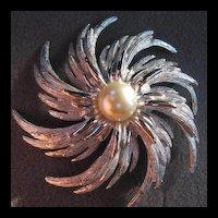 Sarah Coventry Silver Swirl Brooch Earrings Demi Set