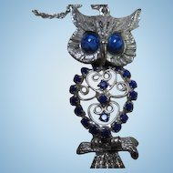 Stunning Vintage Articulated Owl Blue Crystal Pendant with Chain