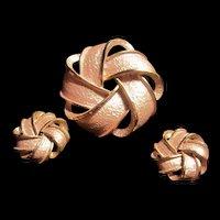 Mid Century Pink Enamel Brooch Earrings Set