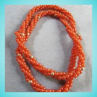 Trifari Triple Strand Carnelian Lucite  Necklace