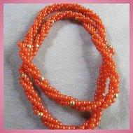 Trifari Triple Strand Carnelian Lucite  Necklace