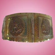 Taxco Sterling Silver Signed Aztec Vintage Story Panel Bracelet