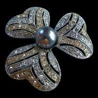 Stunning Gold Silver tone fx Black Pearl Austrian Crystals Vintage Brooch