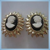 Vintage Bold Cameo Earrings Clip On