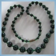 Beautiful Hand Cut Genuine Malachite Bead Necklace 23""