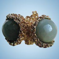 Gorgeous Vintage Bypass Ring fully Faceted Round Glass stones size 6-7 adjustable