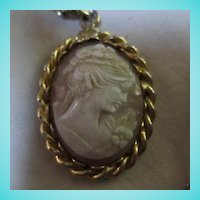 HOBE Signed Genuine Cameo on Fancy Link Chain Necklace