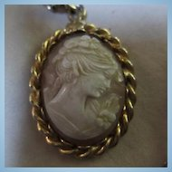 HOBE Signed Genuine Cameo on Fancy Link Chain Vintage Necklace