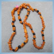 Lovely Baltic Honey Amber Onyx Necklace