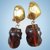Runway Bold Amber Lucite Drop Vintage Earrings
