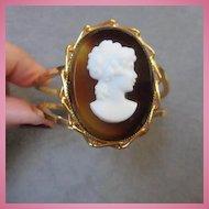 Gorgeous Victorian Revival Cameo Vintage Clamper Bracelet