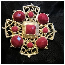 Maltese Cross Faceted Cranberry Matte Gold plated Brooch