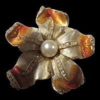 Exquisite ART Signed Enamel Crystal Flower Brooch