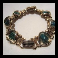 Art Deco Set Bookchain Malachite Bracelet Ring