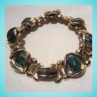 Art Deco Set Bookchain Malachite Bracelet Ring