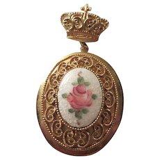 Gorgeous Coro Guilloche Rose Locket Brooch