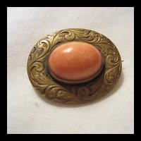 Victorian Coral cab C Clasp Lingerie Pin or Victorian Doll Pin