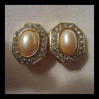 Classic faux Pearl & Rhinestone Clip Earrings Wedding