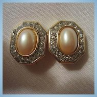 Classic faux Pearl & Rhinestone Clip Earrings Wedding