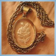 "Beautiful Vintage Reverse Carved Rose Glass Pendant 24"" chain"