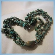 Three Strand Natural Turquoise Large Natural Turquoise Stone Centerpiece Necklace
